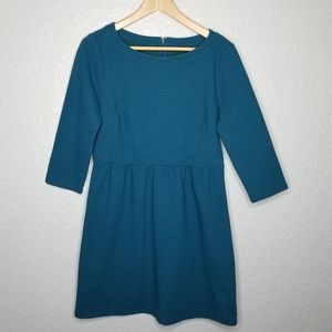NWT LOFT Teal Ribbed Texture Fit And Flare Dress